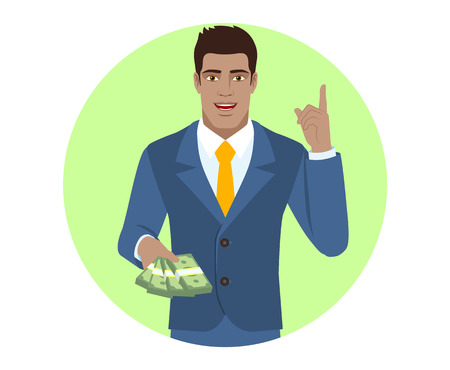Businessman with money pointing index finger up. Portrait of Black Business Man in a flat style. Vector illustration. Illustration
