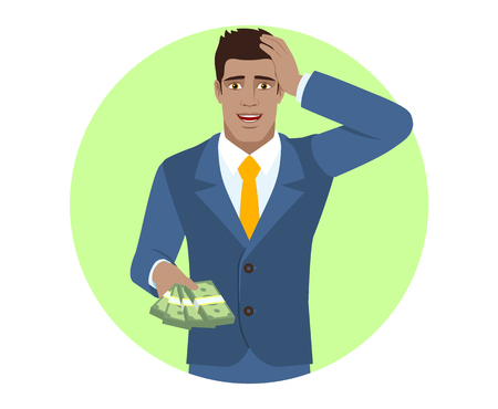 diaspora: Businessman with money grabbed his head. Portrait of Black Business Man in a flat style. Vector illustration.