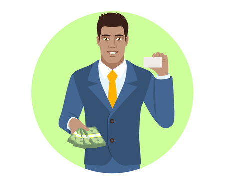 Businessman with cash money showing the business card. Portrait of Black Business Man in a flat style. Vector illustration. Illustration