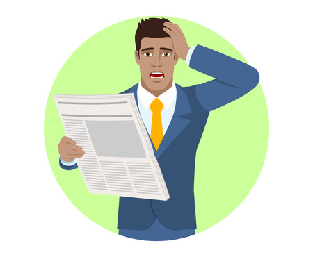 diaspora: Bad news. Businessman with newspaper grabbed his head. Portrait of Black Business Man in a flat style. Vector illustration. Illustration