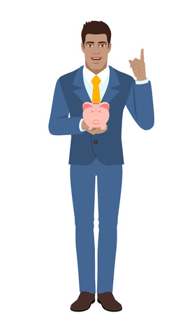 diaspora: Businessman holding a piggy bank and pointing up. Full length portrait of Black Business Man in a flat style. Vector illustration.