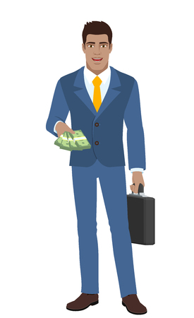 Businessman with money and briefcase. Full length portrait of Black Business Man in a flat style. Vector illustration. Illustration