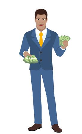 diaspora: Businessman with money. Full length portrait of Black Business Man in a flat style. Vector illustration. Illustration