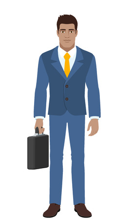 diaspora: Businessman standing with briefcase. Full length portrait of Black Business Man in a flat style. Vector illustration.