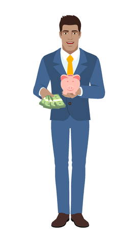 diaspora: Businessman with money and piggy bank. Full length portrait of Black Business Man in a flat style. Vector illustration. Illustration