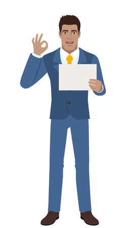 diaspora: Businessman showing a a paper and  show a okay hand sign. Full length portrait of Black Business Man in a flat style. Vector illustration.