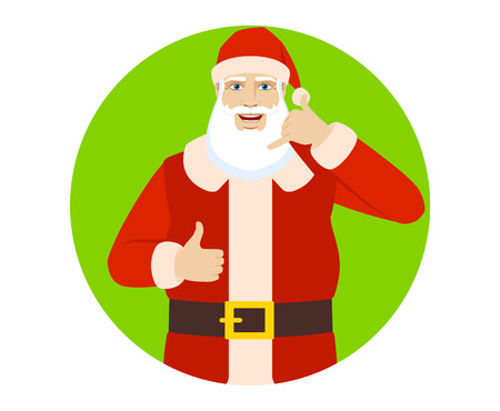 Santa Claus showing a call me sign and showing thumb up. Portrait of Santa Claus in a flat style. Vector illustration. Illustration