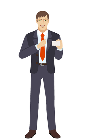 Businessman showing the business card and pointing at himself. Full length portrait of businessman character in a flat style. Vector illustration.