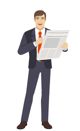Businessman with newspaper pointing at himself.  Full length portrait of businessman character in a flat style. Vector illustration. Illustration