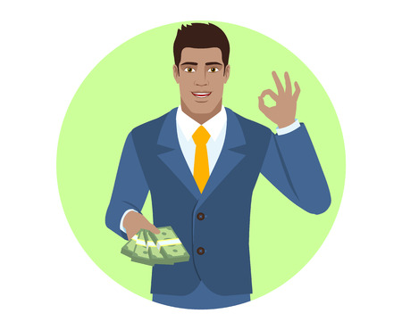 diaspora: Businessman with money showing a okay hand sign. Portrait of black business man in a flat style.