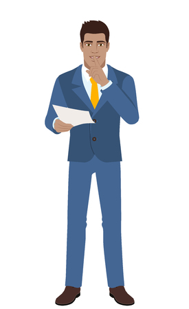 Businessman holding a paper and making hush sign. Full length portrait of Black Business Man in a flat style. Vector illustration.