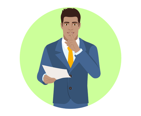 Businessman holding a paper and making hush sign. Portrait of Black Business Man in a flat style. Vector illustration.