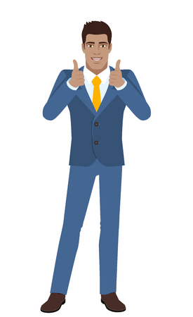 diaspora: Businessman showing thumb up. Full length portrait of Black Business Man in a flat style. Vector illustration.