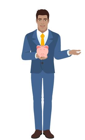 diaspora: Businessman holding a piggy bank and gesturing. Full length portrait of Black Business Man in a flat style. Vector illustration. Illustration