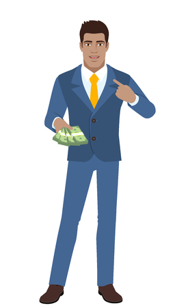 Businessman with cash money pointing the finger at yourself. Self-promotion. Full length portrait of Black Business Man in a flat style. Vector illustration.