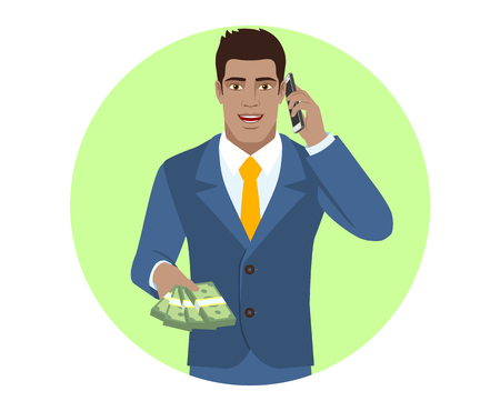 diaspora: Businessman with cash money talking on the mobile phone. Portrait of Black Business Man in a flat style. Vector illustration.