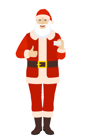 Santa Claus showing  the business card and thumb up. Full length portrait of Santa Claus in a flat style. Vector illustration.
