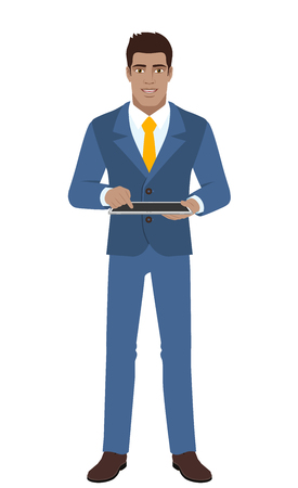 diaspora: Businessman using digital tablet PC. Full length portrait of Black Business Man in a flat style. Vector illustration.