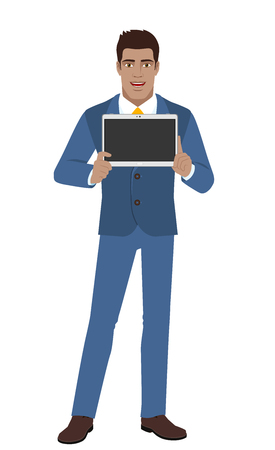 Businessman showing blank digital tablet PC. Full length portrait of Black Business Man in a flat style. Vector illustration. Illustration