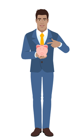 diaspora: Businessman pointing at a piggy bank. Full length portrait of Black Business Man in a flat style. Vector illustration.