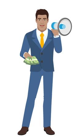 diaspora: Businessman with cash money and loudspeaker. Full length portrait of Black Business Man in a flat style. Vector illustration.