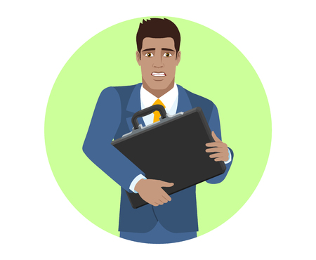Businessman with two hands grabbed the briefcase. Portrait of Black Business Man in a flat style. Vector illustration.
