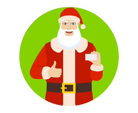 Santa Claus showing  the business card and thumb up. Portrait of Santa Claus in a flat style. Vector illustration. Illustration