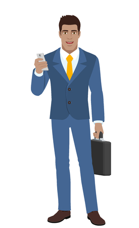 diaspora: Businessman with mobile phone and briefcase. Full length portrait of Black Business Man in a flat style. Vector illustration.