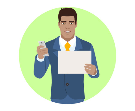 diaspora: Businessman with mobile and paper. Portrait of Black Business Man in a flat style. Vector illustration.
