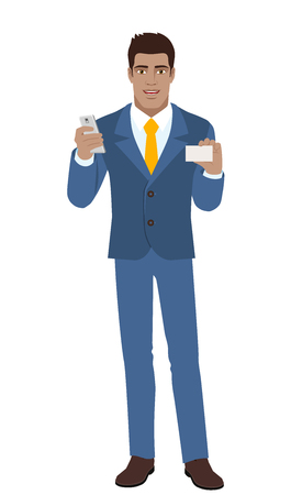 Businessman with mobile phone shows the business card.  Full length portrait of Black Business Man in a flat style. Vector illustration. Illustration