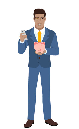 diaspora: Businessman with mobile phone and piggy bank. Full length portrait of Black Business Man in a flat style. Vector illustration. Illustration