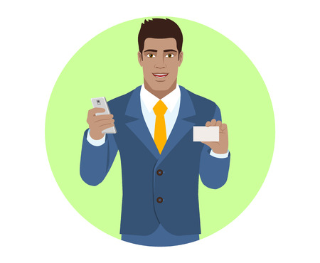 Businessman with mobile phone shows the business card. Portrait of black B=business man in a flat style. Illustration