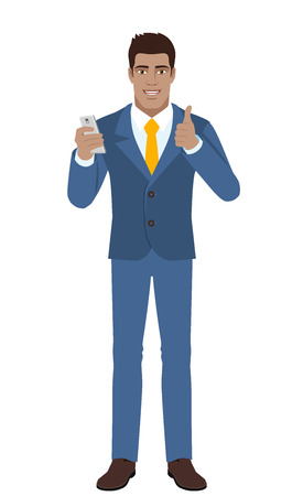 diaspora: Businessman with mobile phone showing thumb up. Full length portrait of Black Business Man in a flat style. Vector illustration.