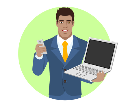 diaspora: Businessman with mobile phone holding laptop notebook. Portrait of Black Business Man in a flat style. Vector illustration.