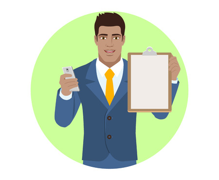 diaspora: Businessman with mobile phone and clipboard. Portrait of Black Business Man in a flat style. Vector illustration. Illustration