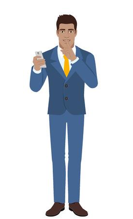 diaspora: Hush hush. Businessman holding mobile phone and showing hush-hush sign. Full length portrait of Black Business Man in a flat style. Vector illustration. Illustration