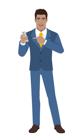diaspora: Businessman pointing at a mobile phone. Full length portrait of Black Business Man in a flat style. Vector illustration. Illustration
