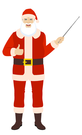 confirmed: Santa Claus showing thumb up and holding a pointer.  Full length portrait of Santa Claus in a flat style. Vector illustration.