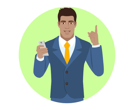 diaspora: Businessman with mobile phone pointing up. Portrait of Black Business Man in a flat style. Vector illustration.