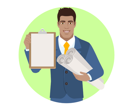 diaspora: Businessman holding the project plans and clipboard. Portrait of Black Business Man in a flat style. Vector illustration.