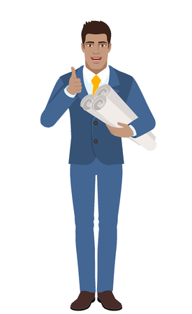 diaspora: Businessman holding the project plans and showing thumb up. Full length portrait of Black Business Man in a flat style. Vector illustration.