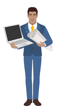 Businessman holding the project plans and holding laptop notebook. Full length portrait of Black Business Man in a flat style. Vector illustration.