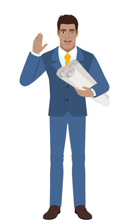 Businessman holding the project plans and greeting someone with his hand raised up. Full length portrait of Black Business Man in a flat style. Vector illustration. Illustration