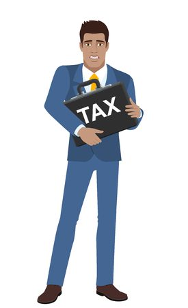 diaspora: Businessman with two hands grabbed the briefcase and does not want to pay tax. Full length portrait of Black Business Man in a flat style. Vector illustration. Illustration