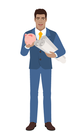 Businessman with piggy bank holding the project plans. Full length portrait of Black Business Man in a flat style. Vector illustration.