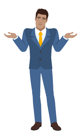 diaspora: I dont know. Businessman with an I dont know gesture. Full length portrait of Black Business Man in a flat style. Vector illustration.