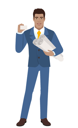 diaspora: Businessman holding the project plans and showing the business card. Full length portrait of Black Business Man in a flat style. Vector illustration.