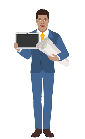 diaspora: Businessman holding the project plans and showing blank digital tablet PC. Full length portrait of Black Business Man in a flat style. Vector illustration.