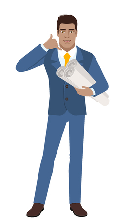 Call me! Businessman holding the project plans and showing a call me sign. Full length portrait of Black Business Man in a flat style. Vector illustration.