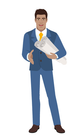 diaspora: Businessman holding the project plans and gives a hand for a handshake. Full length portrait of Black Business Man in a flat style. Vector illustration.